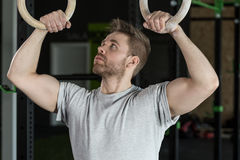 Muscular man and circles Stock Image