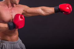 Muscular man on a dark background Stock Image