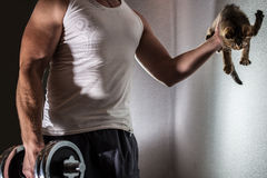 Muscular man doing exercise with dumbbell in one arm and in his other hand a cute kitten Royalty Free Stock Photos