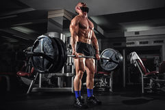 Muscular Man Doing Heavy Deadlift Exercise Stock Image