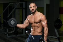 Muscular Man Doing Heavy Weight Exercise For Biceps Stock Photography