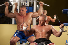 Muscular man doing weightlifting in gym Stock Image