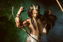 Muscular man with dreadlocks and skin through the trees and mist Royalty Free Stock Photos