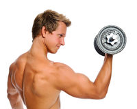 Muscular man with dumbbell Royalty Free Stock Images