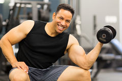 Muscular man dumbbell Royalty Free Stock Images