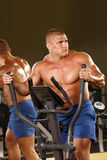 Muscular man  is engaged on the xtrainer machines. Fitness - powerful muscular man  is engaged on the xtrainer machines at the gym Royalty Free Stock Images