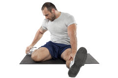 Muscular man exercise fitness sport Stock Photo