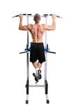 Muscular man exercise on a white background Stock Photos