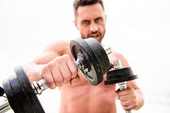 Muscular man exercising with barbell. fitness health diet. man sportsman with strong ab torso. steroids. athletic body. Dumbbell gym. sport equipment. Perfect stock images