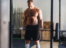 Muscular man exercising with barbell in gym. Looking at his arms Stock Image