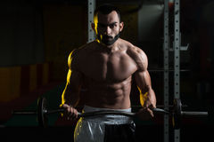 Muscular Man Exercising Biceps With Barbell Royalty Free Stock Image