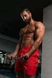 Muscular Man Exercising Biceps On Cable Machine Stock Images