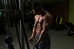 Muscular Man Exercising Biceps On Cable Machine Stock Photo