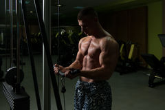 Muscular Man Exercising Biceps On Cable Machine Royalty Free Stock Photos