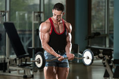 Muscular Man Exercising Biceps Stock Images