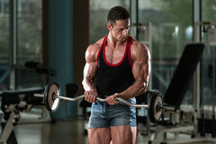 Muscular Man Exercising Biceps Stock Photos