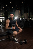 Muscular Man Exercising Biceps With Dumbbells Royalty Free Stock Photography