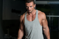 Muscular Man Exercising Biceps In Gym Royalty Free Stock Photography