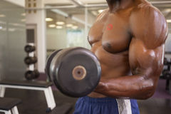 Muscular man exercising with dumbbell in gym Stock Photo