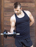 Muscular man exercising with dumbbell on wooden background. Stock Images