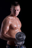 Muscular man exercising with dumbbell Royalty Free Stock Photography