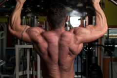 Muscular Man Exercising In Gym Stock Photography