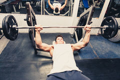 Muscular man exercising in the gym Royalty Free Stock Photos