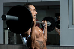 Muscular Man Exercising In Gym Royalty Free Stock Image