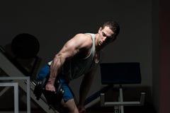 Muscular Man Exercising Triceps Stock Images