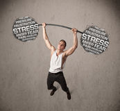 Muscular man fighting with stress Royalty Free Stock Photos