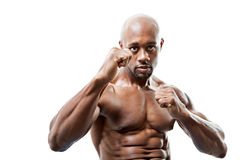 Muscular Man Fists Up. Ripped and muscular martial artist holding his fists up isolated over a white background. Great boxing or fitness concept. Shallow depth stock photos