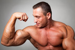 Muscular man flexing his biceps. On gray background royalty free stock photo