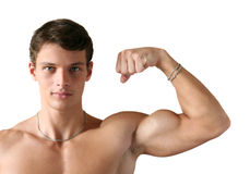 Muscular Man Flexing His Biceps Royalty Free Stock Image