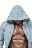 Muscular man in grey hood Stock Photos