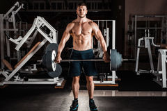 Muscular Man in gym Stock Images