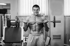 Muscular man in the gym performing the exercise Royalty Free Stock Photo