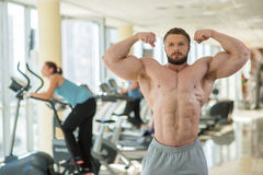 Muscular man in gym. stock image