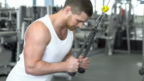 Muscular man at the gym training on block device royalty free stock images