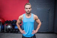Muscular man with hands on the hips Royalty Free Stock Photography