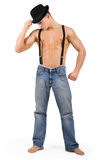 Muscular man in hat Royalty Free Stock Images
