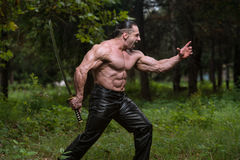 Muscular Man Holding Ancient Sword Royalty Free Stock Image