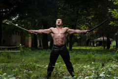 Muscular Man Holding Ancient Sword Royalty Free Stock Photography