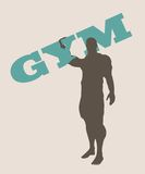 Muscular man holding gym word. Vector silhouette Royalty Free Stock Photo