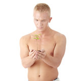 Muscular man holding small plant Royalty Free Stock Image