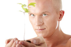 Muscular man holding small plant Stock Photos