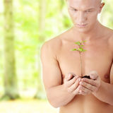 Muscular man holding small plant Royalty Free Stock Images