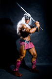 Muscular man in an image of a barbarian with a raised sword. On a dark background in full length Royalty Free Stock Images