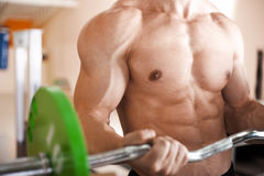Muscular man lifting barbell Stock Images