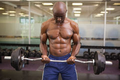 Muscular man lifting barbell in gym Stock Images