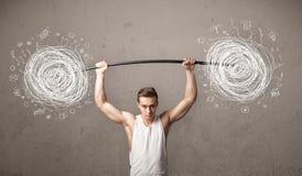 Muscular man lifting chaos concept Royalty Free Stock Image